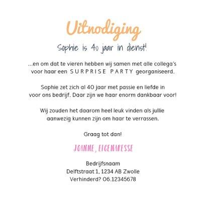 Jubileum uitnodiging medewerker X jaar in dienst feestelijk 3