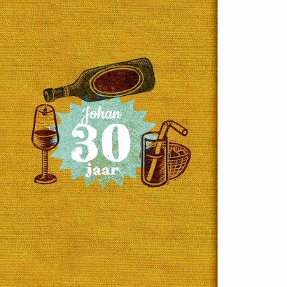 Jubileum uitnodiging stempel geel drank 2