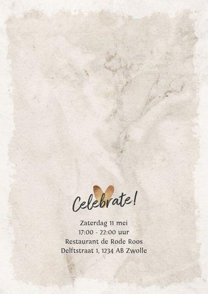 Jubileum uitnodiging vintage kant eucalyptus goud 2