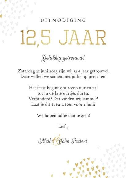 Jubileumfeest uitnodiging 12,5 jaar goud hartjes stijlvol 3