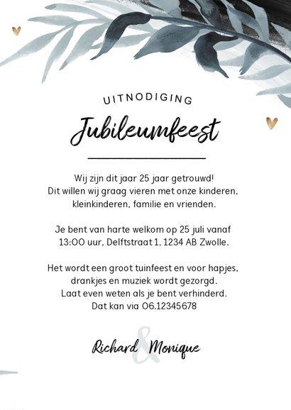 Jubileumfeest uitnodiging 25 jaar tuinfeest stijlvol hartjes 3