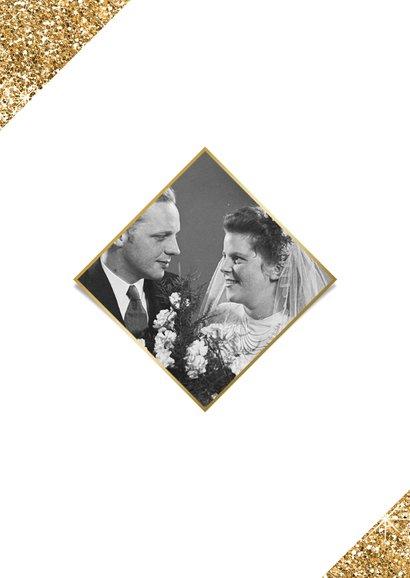 Jubileumfeest uitnodiging fotocollage goud jaartallen 2