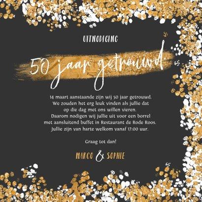 Jubileumfeest uitnodiging goud confetti foto's 50 3