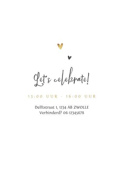 Jubileumfeest uitnodiging stijlvol hartjes liefde goud 2