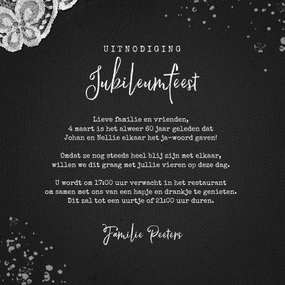 Jubileumfeest uitnodiging vintage kant verf foto 3