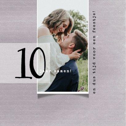 Jubileumkaart 10 jaar samen, modern met foto 2