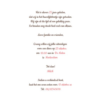 Jubileumkaart 25 jaar roodborstje en hout 3