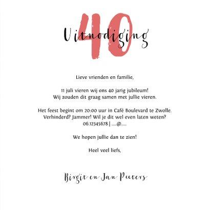 Jubileumkaart 40 jaar huwelijk rood stijlvol en hip 3