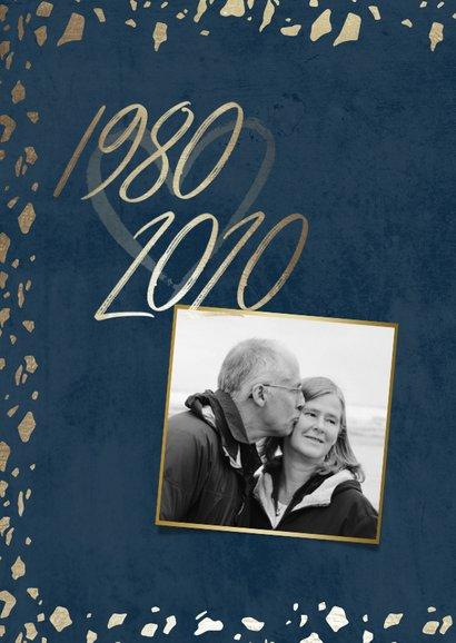 Jubileumkaart 40 jaartallen donkerblauw met terrazzo 2