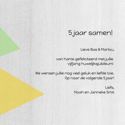 Jubileumkaart 5 jaar samen geometrisch - DH 3