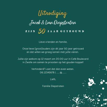 Jubileumkaart 50 jaar huwelijk groen stijlvol met champagne 3