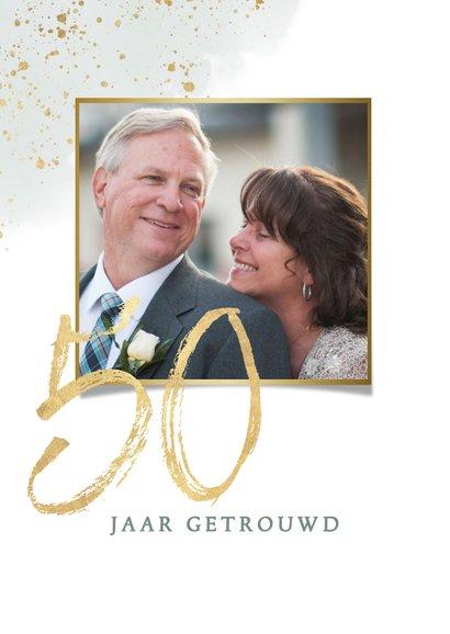 Jubileumkaart 50 jaar met waterverf takje en gouden spetters 2