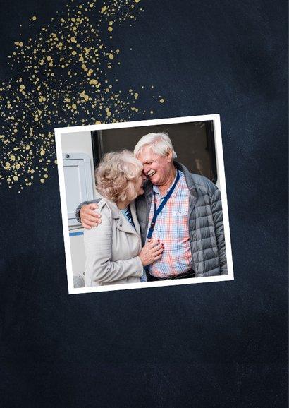 Jubileumkaart 50 jaar stijlvol goudlook met foto en spetters 2