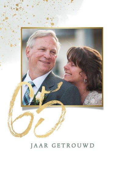 Jubileumkaart 65 jaar getrouwd met waterverf takje en goud 2