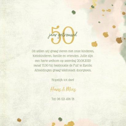Jubileumkaart bloemen goud met waterverf foto en spetters 3