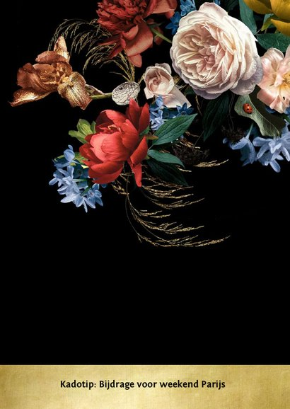 Uitnodiging Jubileum bloemen oude meesters met goud detail 2