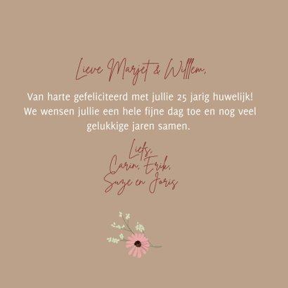 Jubileumkaart bruidspaar boeket vrolijke bloemen 3