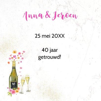 Jubileumkaart champagne en aquarelbloemen  2