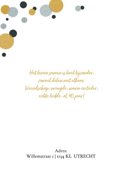 Jubileumkaart confetti goud en zilverlook staand 2