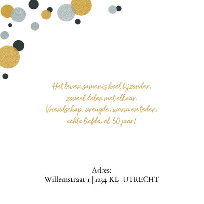 Jubileumkaart confetti goud- zilver confetti 2