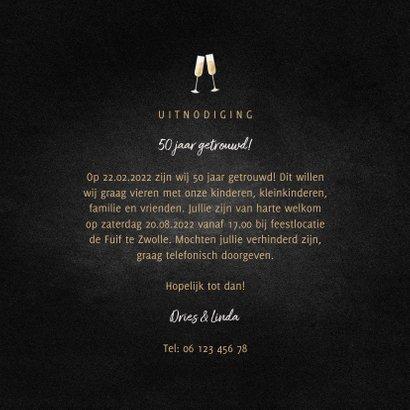 Jubileumkaart feest champagne met foto en gouden linten 3