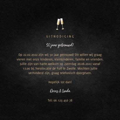 Jubileumkaart feest champagne met gouden linten 3
