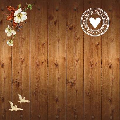 Jubileumkaart foto bloemen hout  2