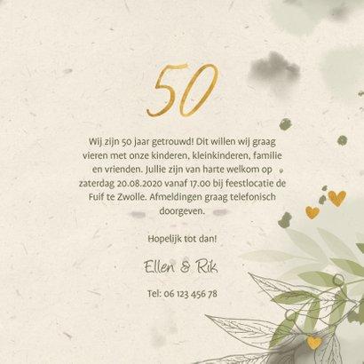 Jubileumkaart foto takjes gouden hartjes en waterverf groen 3