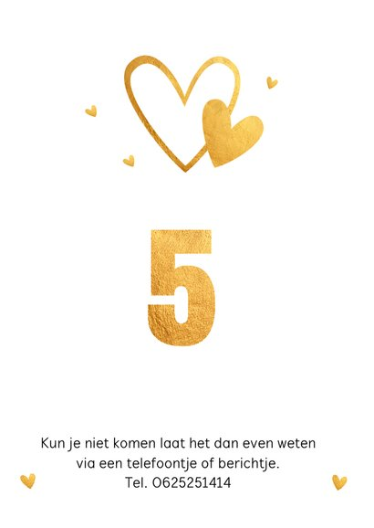 Jubileumkaart fotocollage goud hartjes 5 jaar 2