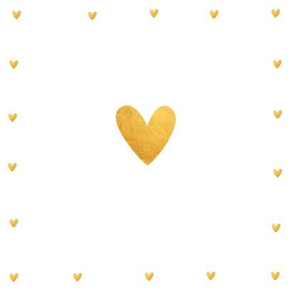 Jubileumkaart fotocollage vierkant gouden hartjes  2