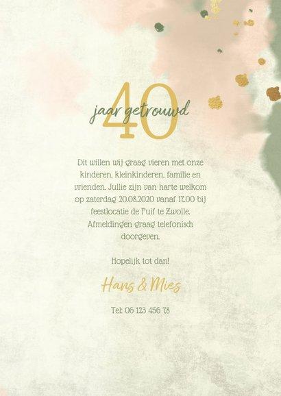 Jubileumkaart gouden bloemen met waterverf en spetters 3