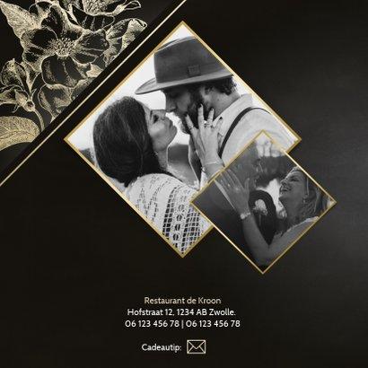 Jubileumkaart gouden bloemen zwart 50 jaar getrouwd met foto 2