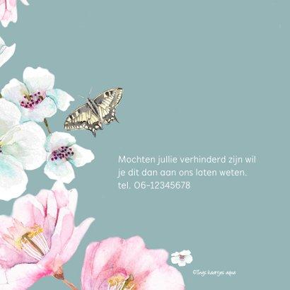 Jubileumkaart Grote witte en roze bloemen 2