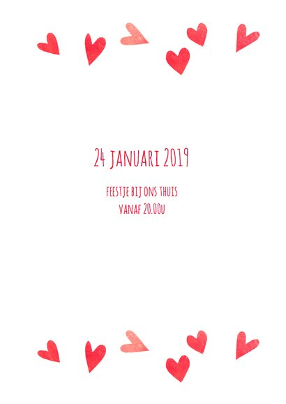 Jubileumkaart hartjes rood 5 3