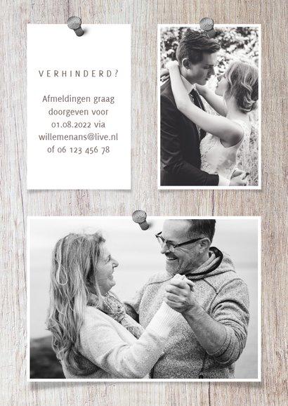 Jubileumkaart hout met fotocollage en spijkers 2