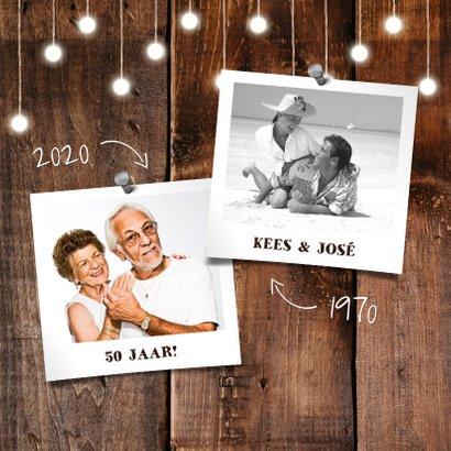 Jubileumkaart hout met hangende lampjes en foto's 2
