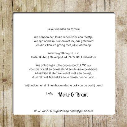 Jubileumkaart huwelijk pallet wegwijzer op hout  3