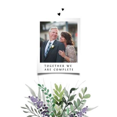Jubileumkaart huwelijk stijlvol en klassiek met bloemen 2