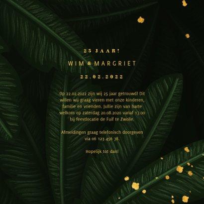 Jubileumkaart jungle bladeren met foto en gouden '25' 3