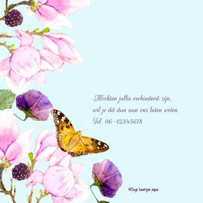 Jubileumkaart Magnolia vlinder 2