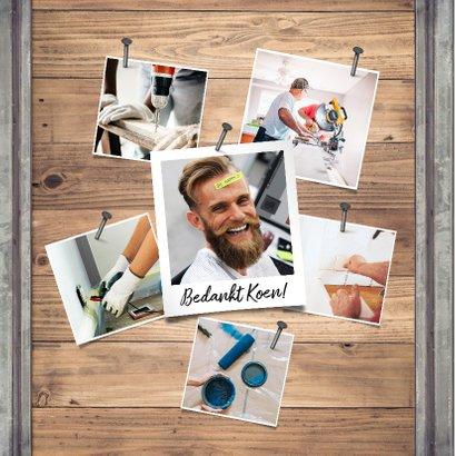 Jubileumkaart medewerker industrieel met foto en hout  2