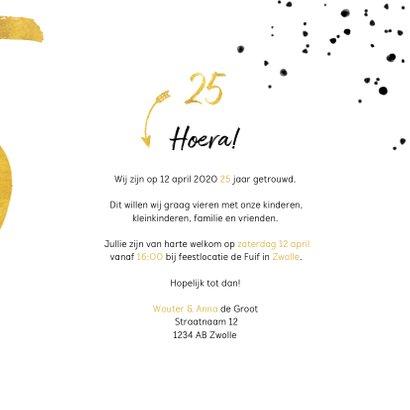 Jubileumkaart met gouden 25, spetters en foto 3