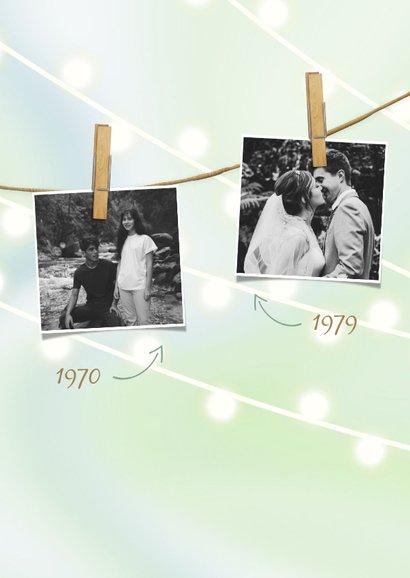 Jubileumkaart met lampjes, knijpers en foto's 2
