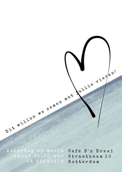 Jubileumkaart modern, 5 jaar samen eenvoudig met hart 3