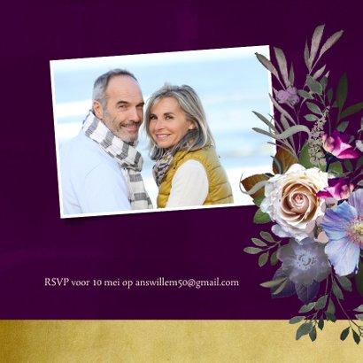 Jubileumkaart oude meesters paars goud jaartal aanpasbaar 2