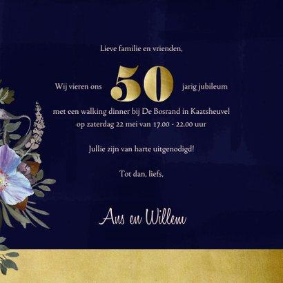 Jubileumkaart oude meesters paars goud jaartal aanpasbaar 3