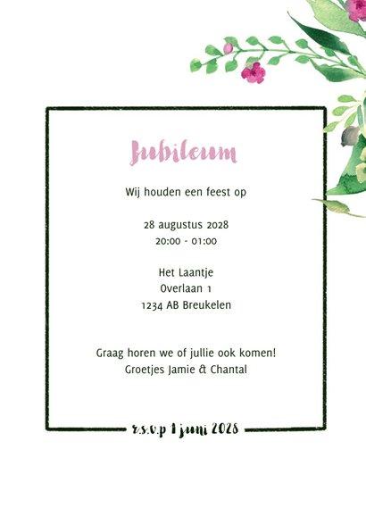 Jubileumkaart staand Stijlvol wit met bloemen 3
