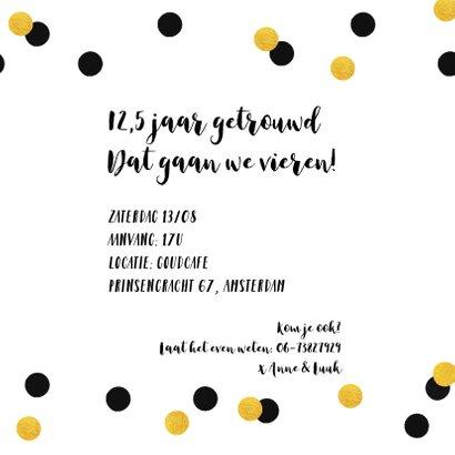 Jubileumkaart trouwdag uitnodiging feest goud 3