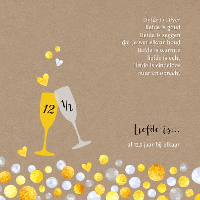 Jubileumkaart uitnodiging champagne kraft 2