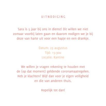 Jubileumkaart uitnodiging feestje roze 3